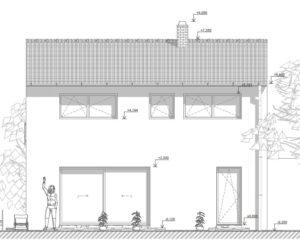Pohled na jižní fasádu novostavby, pro kterou jsme připravili PENB
