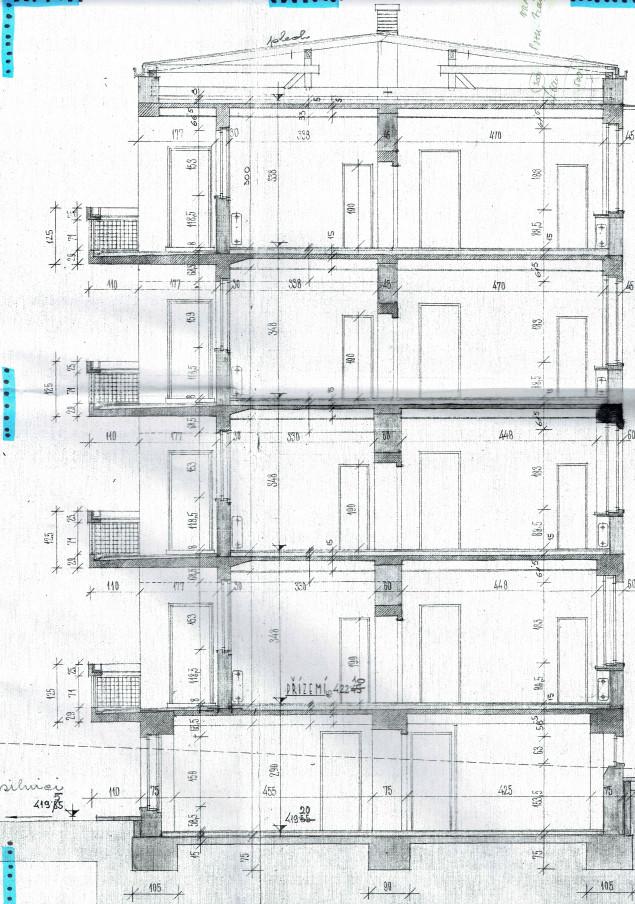 Příklad podkladu pro přípravu PENB - řez budovou (výkres)