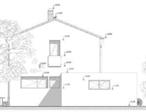 Východní fasáda novostavby pasivního domu